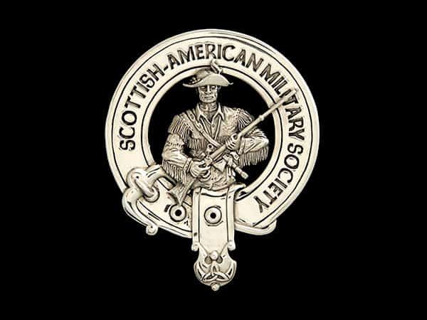 SCOTTISH-AMERICAN MILITARY SOCIETY STERLING SILVER BADGE - © CELTICJACKALOPE.COM - ARTIST MAXINE MILLER