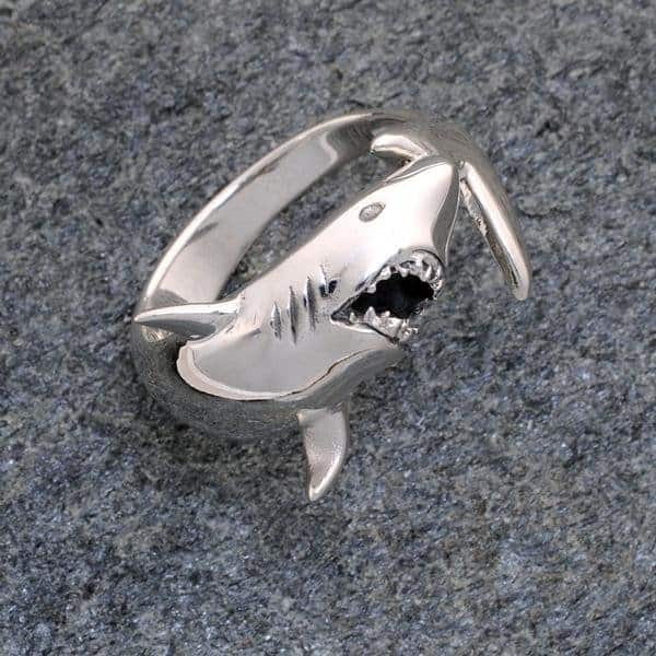Great White Shark Ring Sterling Silver ©celticjackalope.com