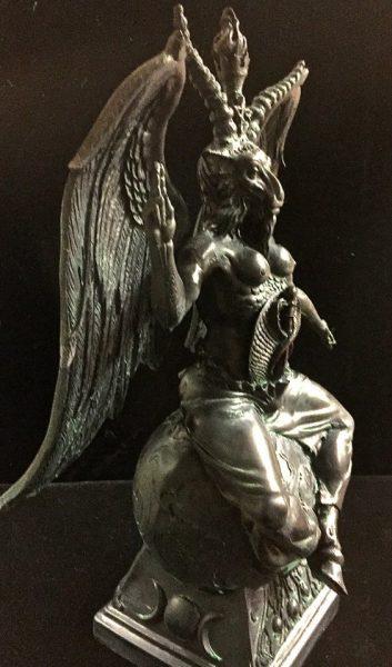 Baphomet Statue Black and Antique Green Resin by Maxine Miller ©celticjackalope.com 3