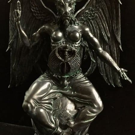 Baphomet Statue Black and Antique Green Resin by Maxine Miller ©celticjackalope.com 1