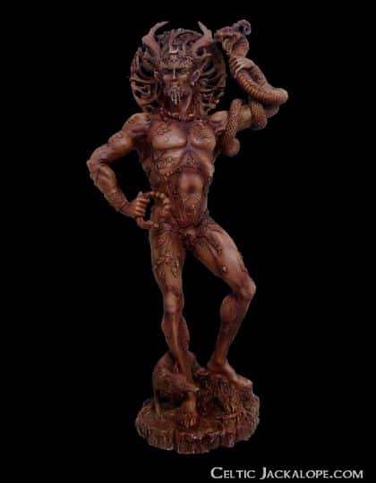 Celtic Horned God Cernunnos Statue Wood Finish Resin by Maxine Miller ©celticjackalope.com