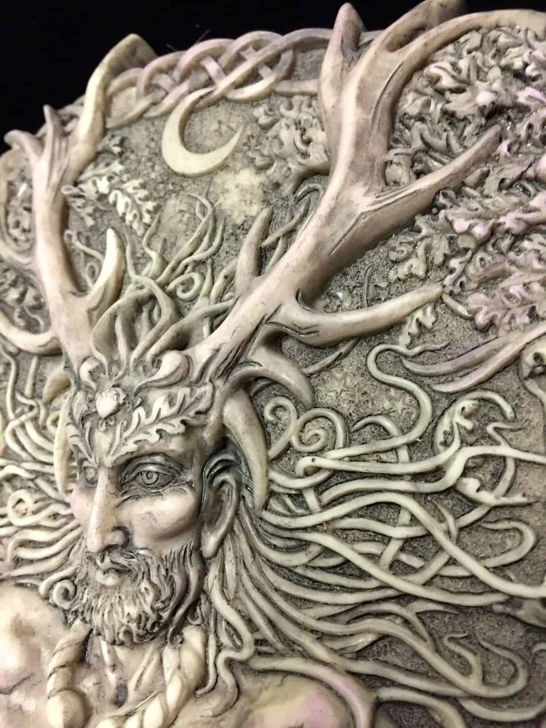 Horned Celtic God Cernunnos Wall Plaque Stone Finish by Maxine Miller ©celticjackalope.com