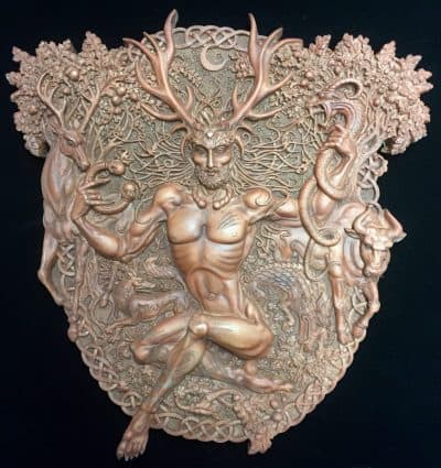 Horned Celtic God Cernunnos Wall Plaque Wood Finish by Maxine Miller ©celticjackalope.com