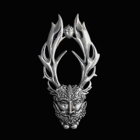 Celtic Horned God Cernunnos Sterling Silver Pendant by Maxine Miller © celticJackalope.com HERNE THE HUNTER