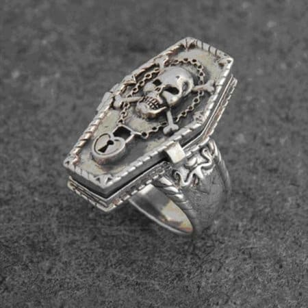 Memento Mori Sterling Silver Coffin Skull and Bones Poison Ring by Maxine Miller ©celtocjackalope.com