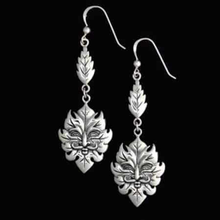 92.5 Sterling Silver Green Man Leaf Spirit Earrings by Maxine Miller ©celticjackalope.com