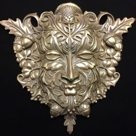Cold Cast Bronze Greenman / Green Man Wall Plaque by Maxine Miller ©celticjackalope.com