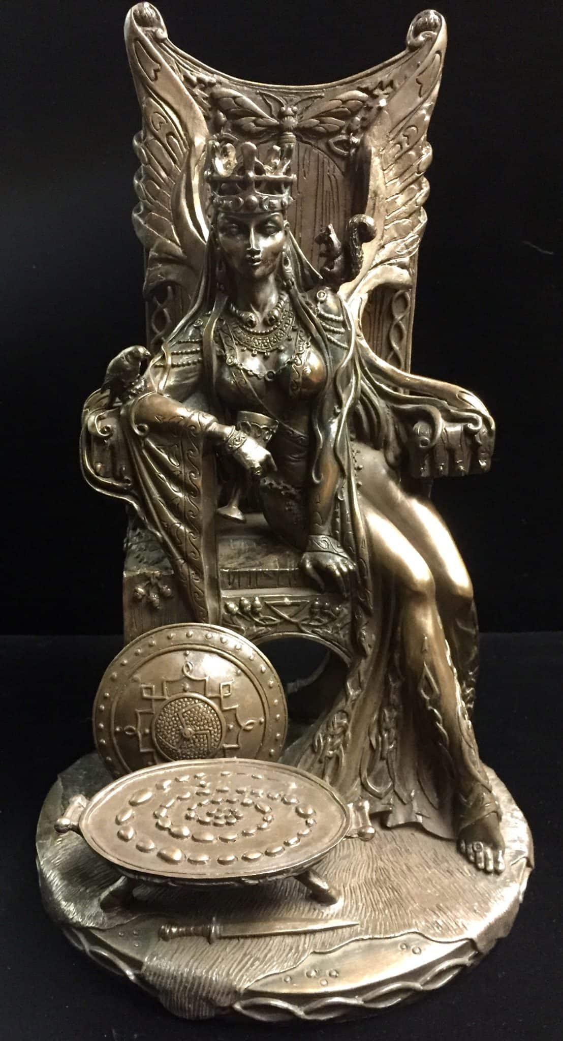 Celtic War an Love Goddess Maeve (Medb)Cold Cast Bronze Statue by Maxine Miller ©Maxine Miller - Front