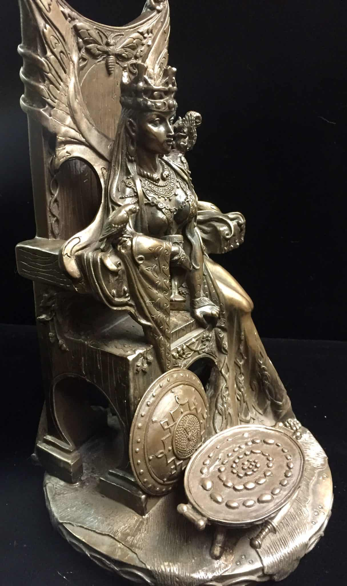 Celtic War an Love Goddess Maeve (Medb)Cold Cast Bronze Statue by Maxine Miller ©Maxine Miller - Side View