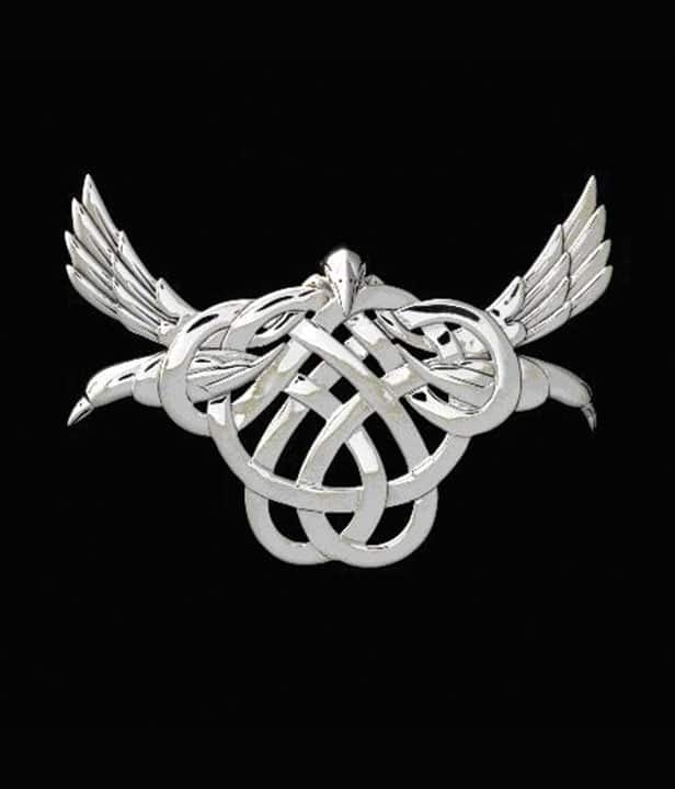 Pendant Triple Raven Morrigan With Celtic Knot Work Sterling