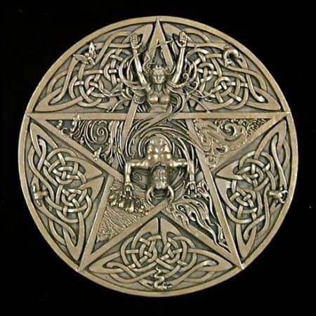 Horned God and Goddess Elemental Celtic Pentacle Wall Plaque Cold Cast Bronze by Maxine Miller ©celticjackalope.com