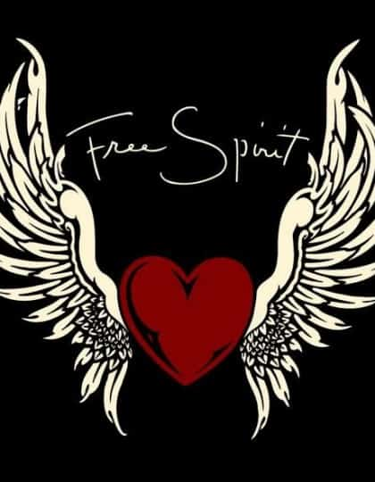 Free Spirit Winged Heart V-Neck by Maxine Miller ©celticjackalope.com