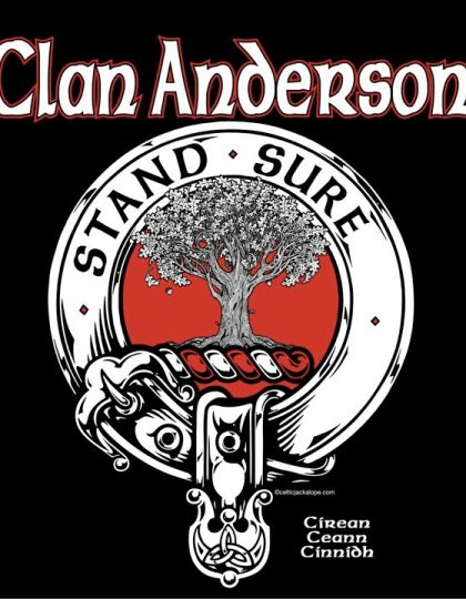 Clan Anderson Clansman's Crest badge T-Shirt by Maxine Miller ©celticjackalope.com