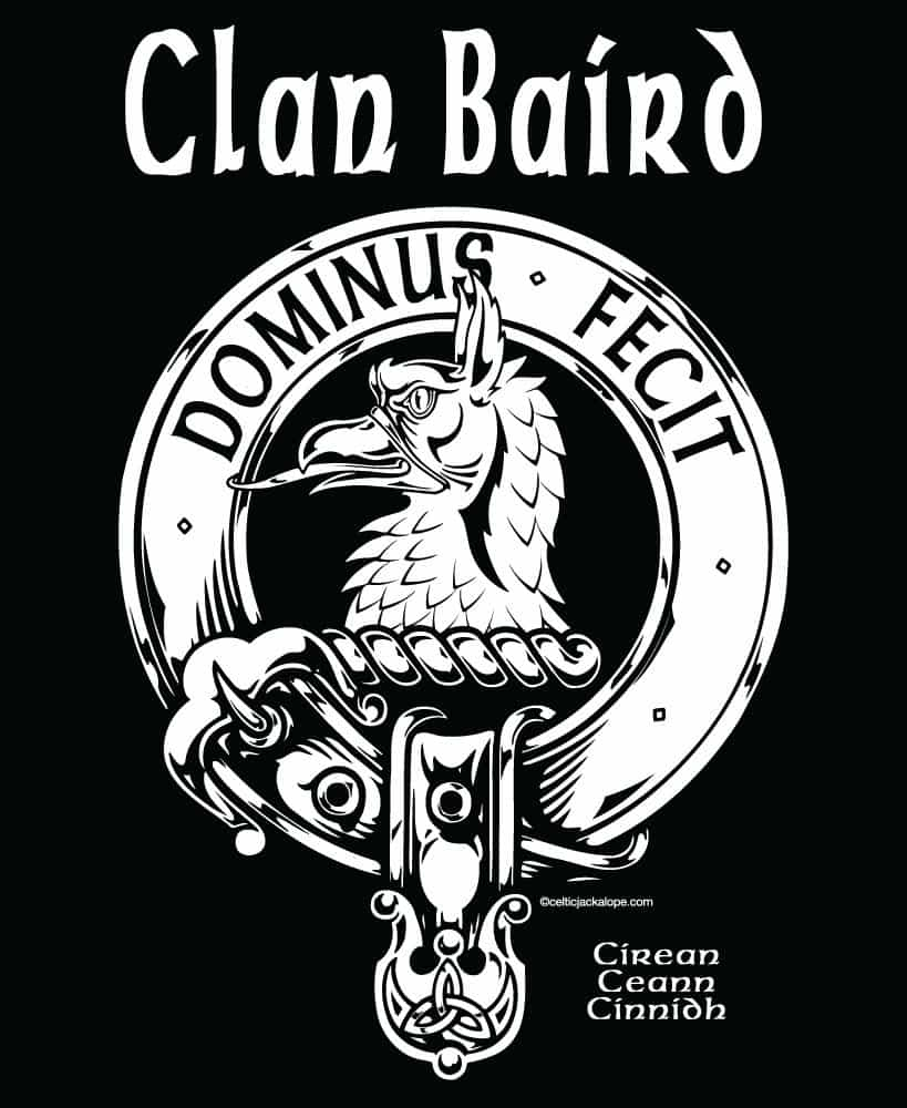 POCKET: Clan Baird Clansman's Crest Badge T-Shirt by Maxine Miller ©celticjackalope.com DOMINUS FECIT
