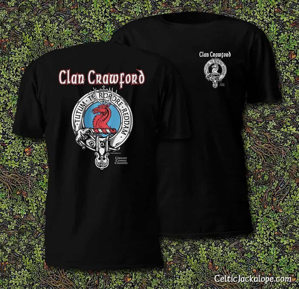Clan Crawford Crest Badge T-Shirt by Maxine Miller ©celticjackalope.com