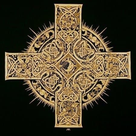 Elemental Celtic Cross Long Sleeve Tee Shirt by Maxine Miller ©celticjackalope.com