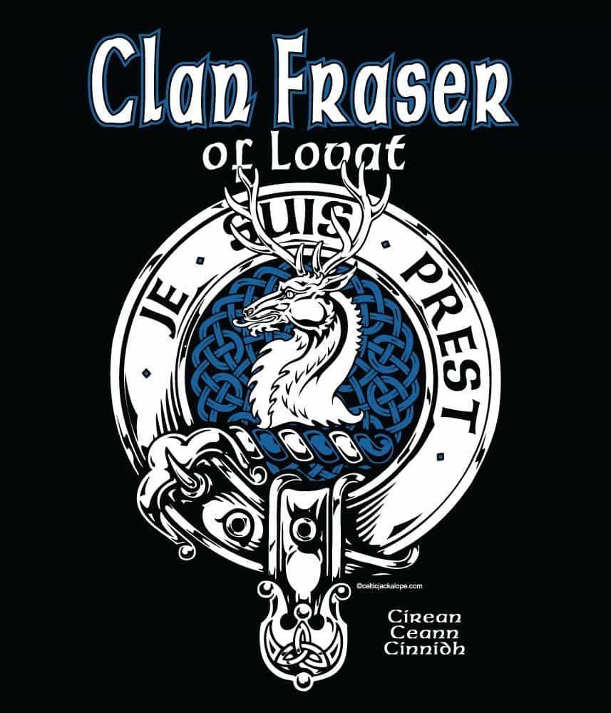 Clan Fraser of Lovat Clansmans Crest Badge T-Shirt by Maxine Miller ©celticjackalope.com JE SUIS PREST