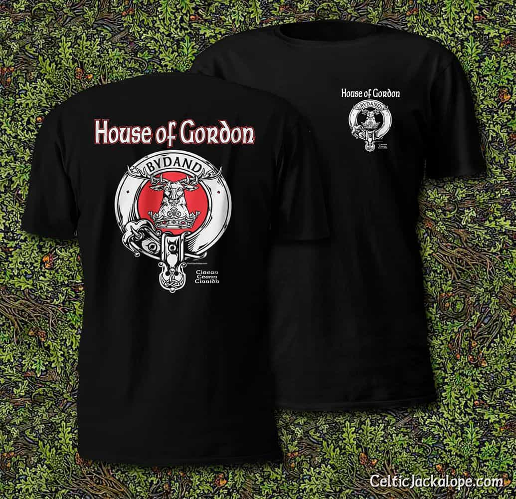 House of Gordon (Clan Gordon) Clansman's Crest Badge T-Shirt by Maxine Miller ©celticjackalope.com
