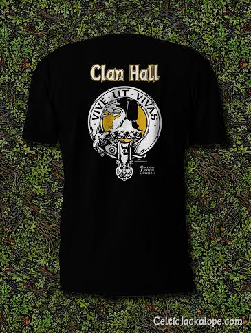 Clan Hall Clansman's Crest Badge T-Shirt by Maxine Miller ©celticjackalope.com