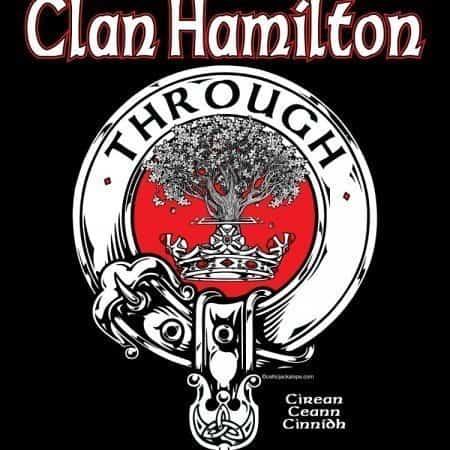 Clan Hamilton Clansman's Crest Badge T-Shirt by Maxine Miller ©celticjackalope.com