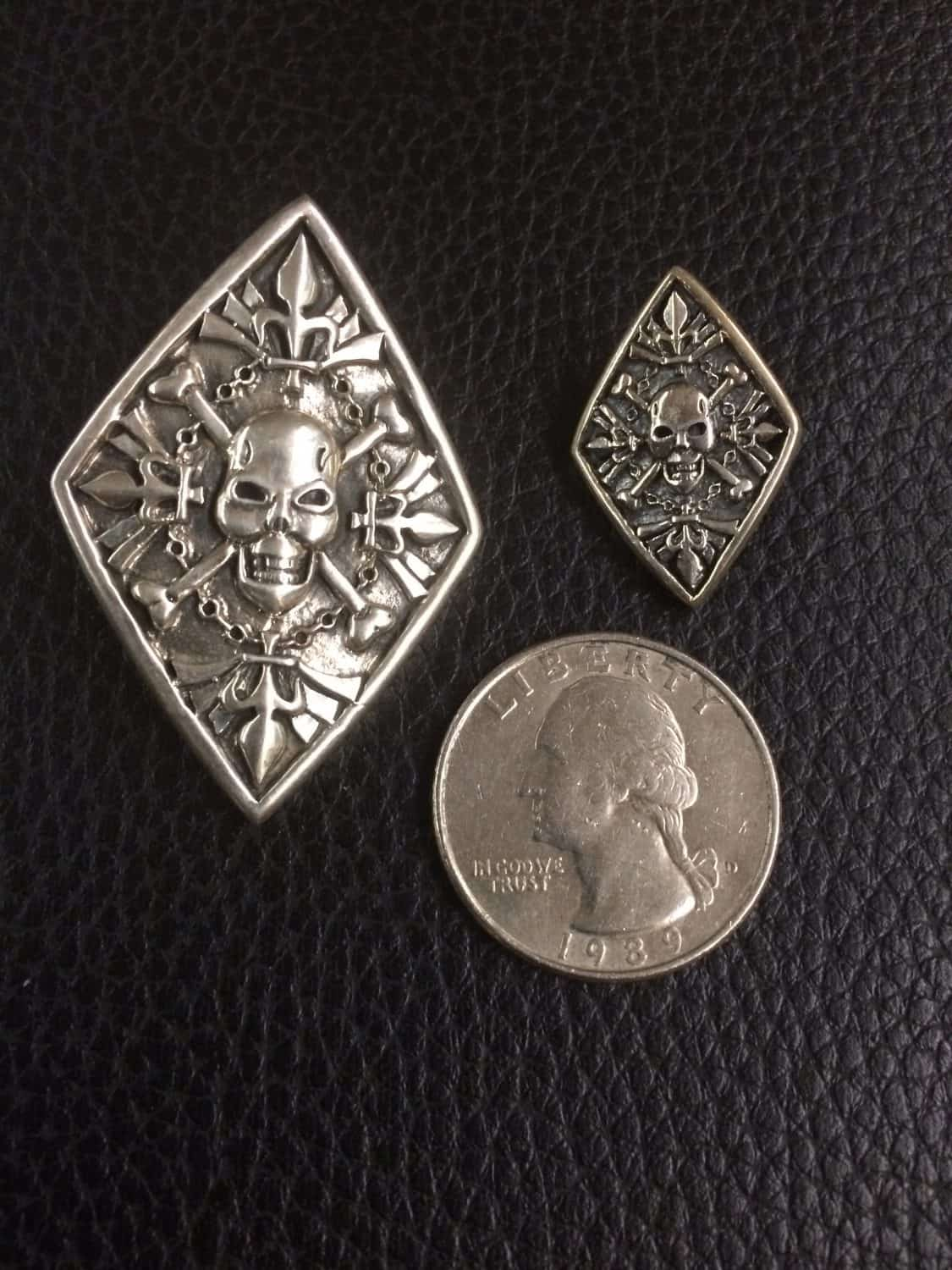 Celtic Jackalope's 925 Sterling Silver Large and Small Pirate Skull and Bones Scottish Formal Buttons by Maxine Miller