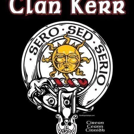 Clan Kerr Clansman's Crest Badge T-Shirt by Maxine Miller ©celticjackalope.com