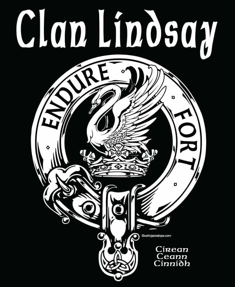 Clan Lindsay Clansman's Crest Badge T Shirt by Maxine Miller © celticjackalope.com ENDURE FORTE SUFFER BRAVELY