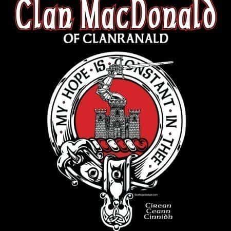 Clan MacDonald of Clanranald Clansman's Crest Badge T-Shirt by Maxine Miller ©celticjackalope.com