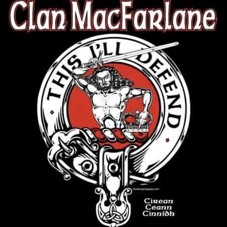 Clan MacFarlane Clansman's Crest badge T-Shirt by Maxine Miller ©celticjackalope.com