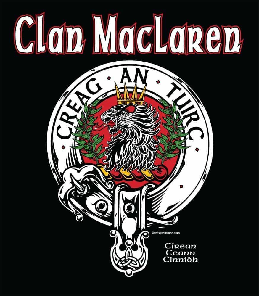 Clan MacLaren Clansman's Crestbadge T-Shirt by Maxine Miller ©celticjackalope.com CREAG AN TUIRC