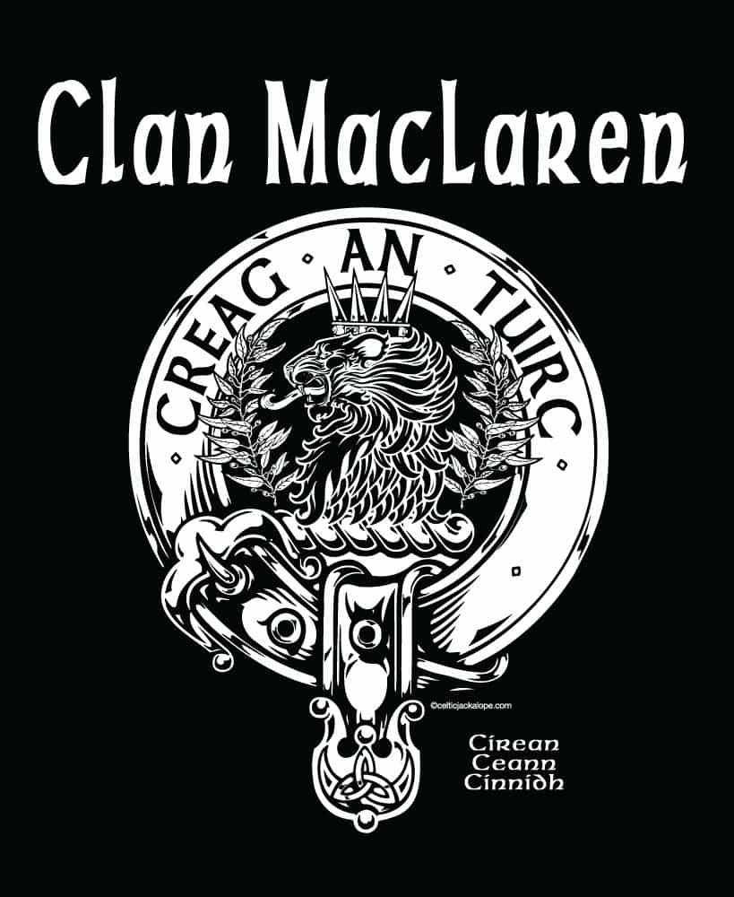 POCKET: Clan MacLaren Clansman's Crestbadge T-Shirt by Maxine Miller ©celticjackalope.com CREAG AN TUIRC