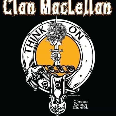 Clan MacLellan Clansman's Crest Badge T-Shirt by Maxine Miller ©celticjackalope.com THINK ON