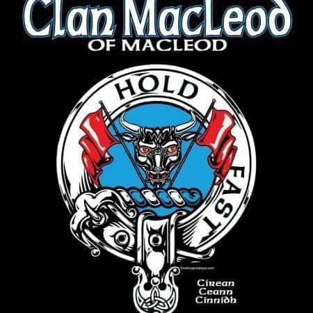 Clan MacLeod of Macleod Clansman's Crest Badge T-Shirt by Maxine Miller ©celticjackalope.com