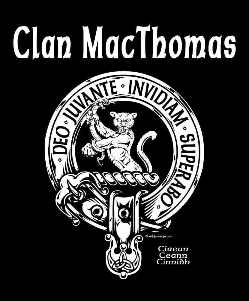 Clan MacThomas Clansman's Crest Badge T-Shirt by Maxine Miller ©celticjackalope.com