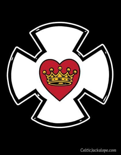 Heraldic Maltese Cross Heart and CrownLadies Tee by Maxine Miller ©celticjackalope.com