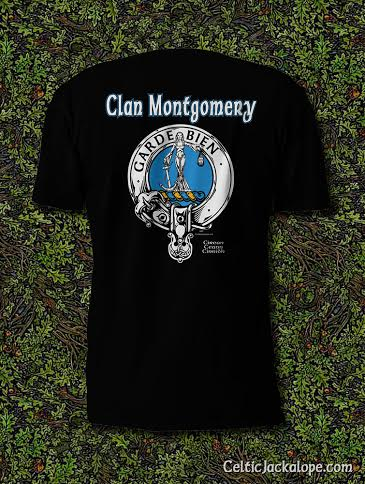 Clan Montgomery Clansman's Crest Badge T-Shirt by Maxine Miller ©celticjackalope.com