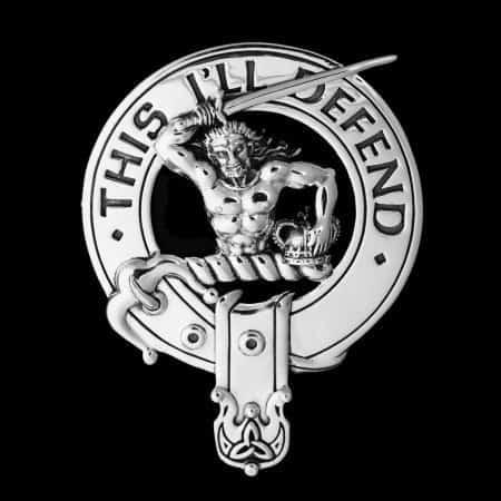 Clan MacFarlane Clansman's Crest Badge v2.0 - 92.5 Sterling Silver by Maxine Miller ©celticjackalope.com