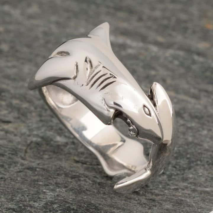 Sterling Silver Tiger Shark Ring ©celticjackalope.com #sharkweek