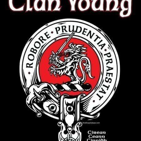Clan Young Clansman's Crest Badge T-Shirt by Maxine Miller ©celticjackalope.com WE RIDE
