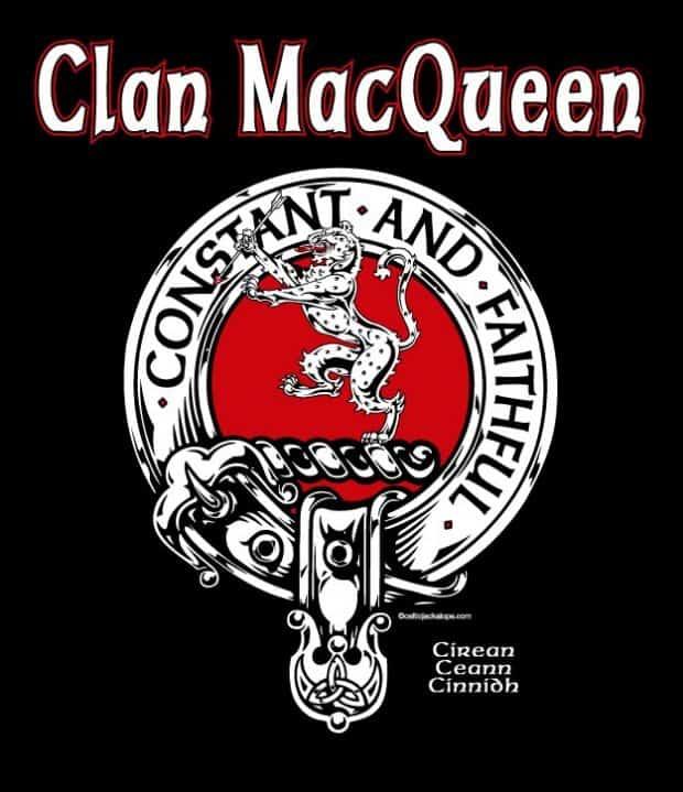 Clan MacQueen Clansman's Crest badge T-Shirt by Maxine Miller ©celticjackalope.com