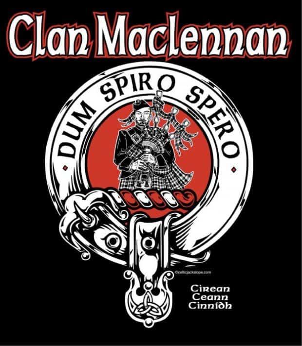 Clan MacLennan Clansmans Crest Badge T-Shirt by Maxine Miller ©celticjackalope.com