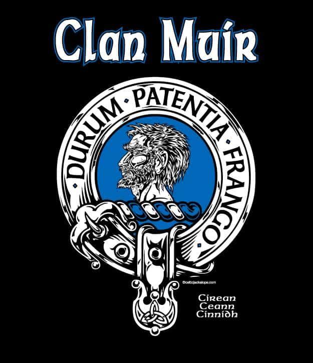 Clan Muir Clansman's Crest Badge T-shirt by Maxine Miller ©celticjackalope.com