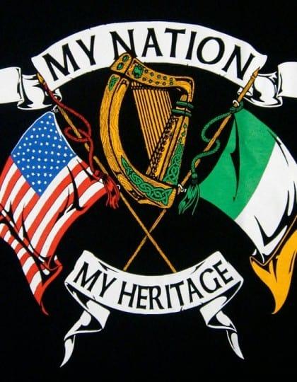 Irish American My Nation My Heritage T-Shirt by Maxine Miller ©celticjackalope.com