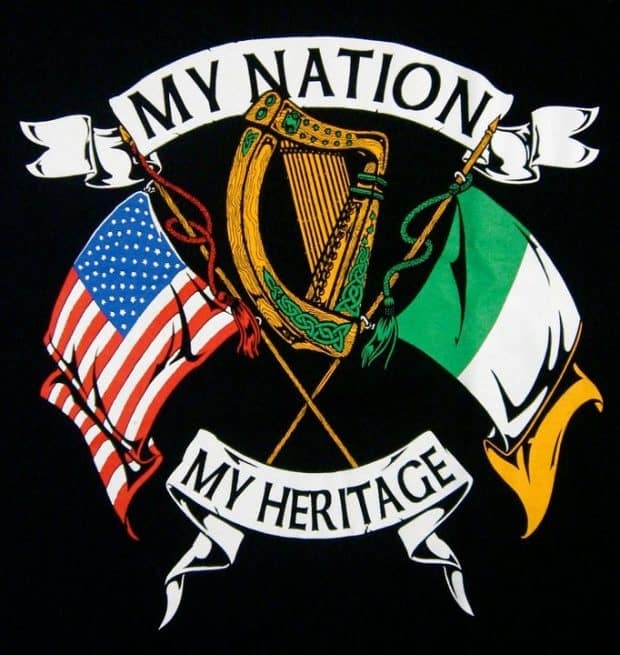 Irish American My Nation My Heritage T-Shirt by Maxine Miller ©celticjackalope.com