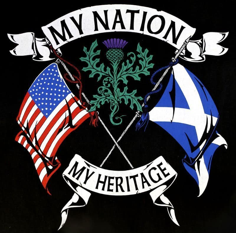 My Nation My Heritage Scottish American Men's T-Shirt by Maxine miller ©celticjackalope.com