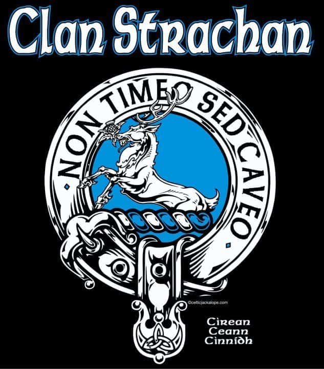 Clan Strachan Clansman's Crest Badge T-shirt by Maxine Miller ©celticjackalope.com NON TIMEO SED CAVEO