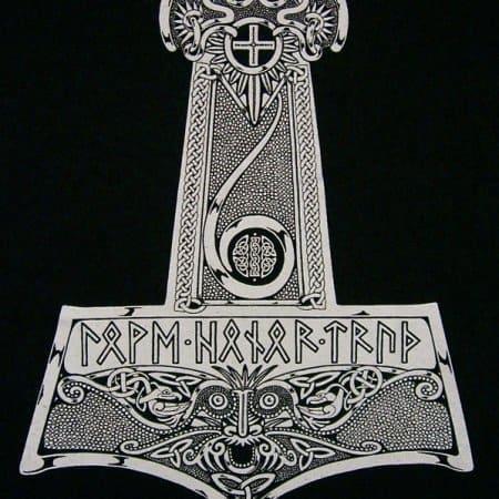 Long Sleeve Thor Hammer Mjolnir Shirt with Runes T-Shirt by Maxine Miller ©celticjackalope.com
