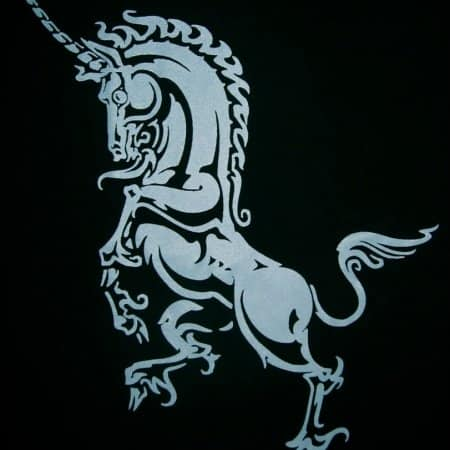 Ladies V-Neck Heraldoc Unicorn T-Shirt by Maxine Miller ©celticjackalope.com