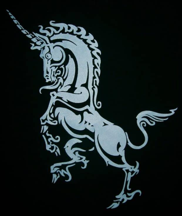 Ladies V-Neck Heraldoc Unicorn T-Shirt by Maxine Miller ©celticjackalope.com