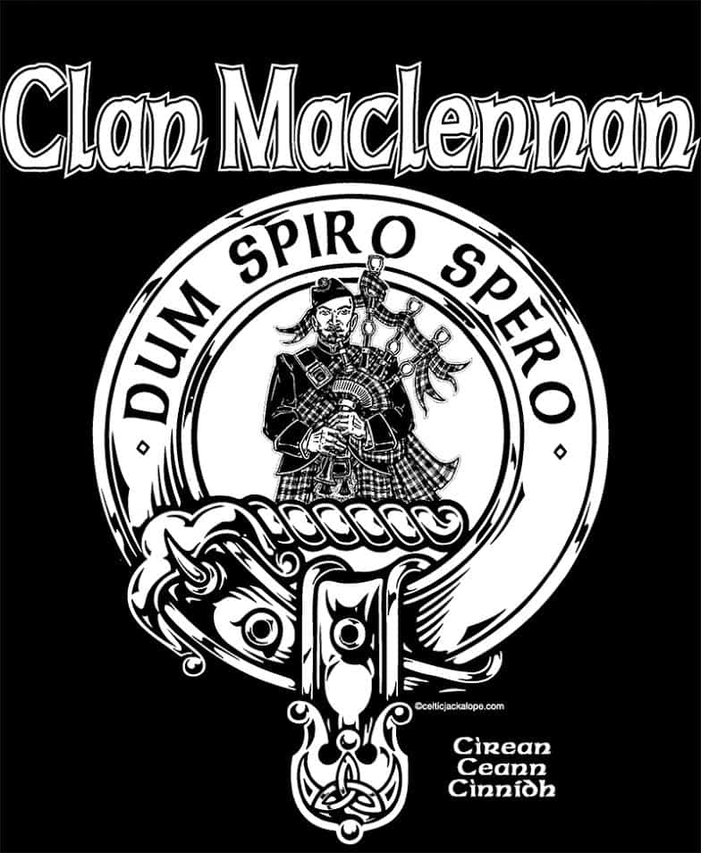 Clan MacLennan Clansmans Crest Badge T-Shirt by Maxine Miller ©celticjackalope.com - Pocket Art
